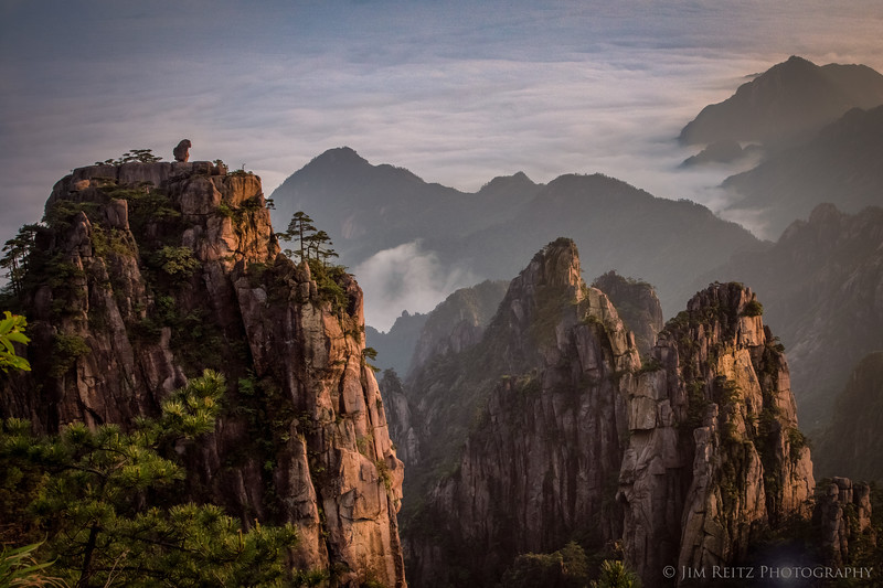 """""""Stone Monkey watching the Sea of Clouds"""". The rock formations & viewpoints at Huangshan (Yellow Mountain) have very poetic - and sometimes literal - names."""
