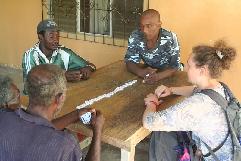 A tense game of dominoes, the favorite game of Garífuna folks