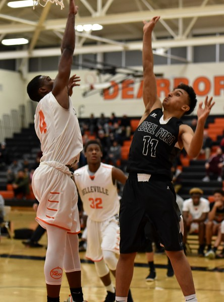 Edsel Ford took on Belleville in the Class A, Region 7 semifinals on Monday night. The Thunderbirds went on to suffer a 90-55 defeat. Photo by Alex Franzen - For the Press & Guide