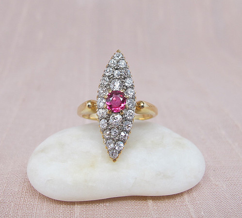 Antique  Diamond and Ruby Navette Ring