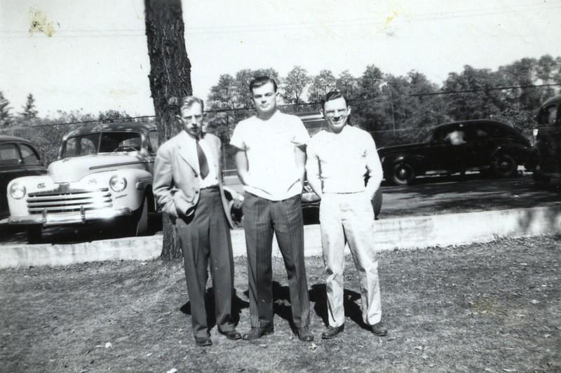 Leon Curtis, Elwin and Bob Baldwin, a roommate of Elwins