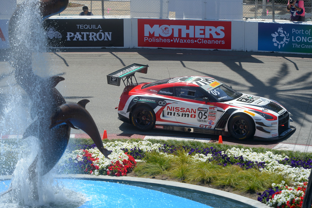 . Pirelli World Cup driver Bryan Heikotter makes the turn around the aquarium fountain in Long Beach, CA on Friday, April 17, 2015. The 40th annual Toyota Grand Prix of Long Beach kicked off with practices for all of the racing divisions. (Photo by Scott Varley, Daily Breeze)