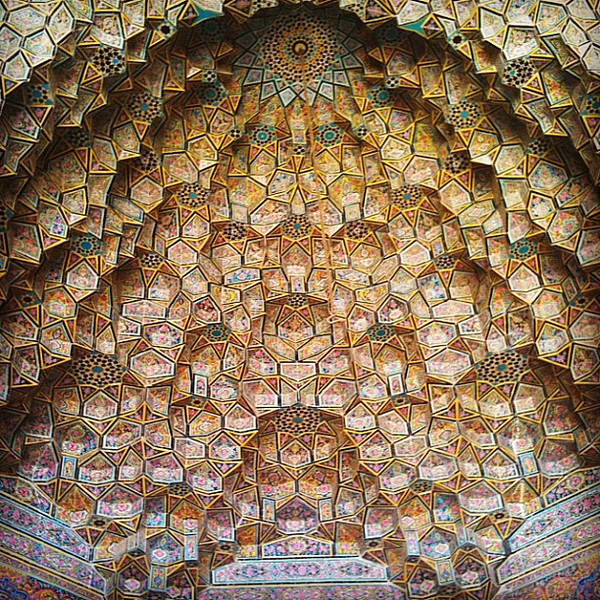 Mesmerizing stalactite ceilings, Pink Mosque in Shiraz, Iran.