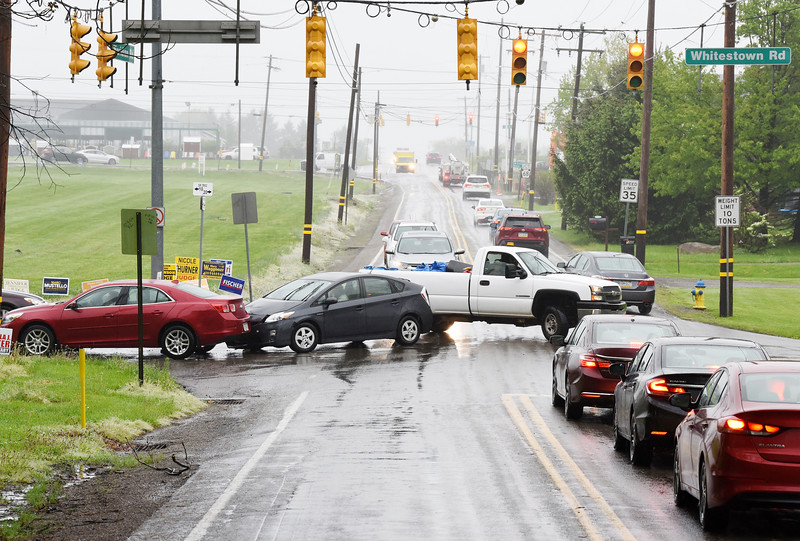 Harold Aughton/Butler Eagle/ An accident snarled rush-hour traffic at the intersection of Whitestown and Meridian roads Monday morning, May 13. No injuries were reported.