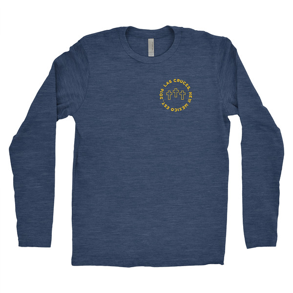 Organ Mountain Outfitters - Outdoor Apparel - Mens T-Shirt - Las Cruces Farmers Market Long Sleeve Tee - Vintage Navy Front.jpg