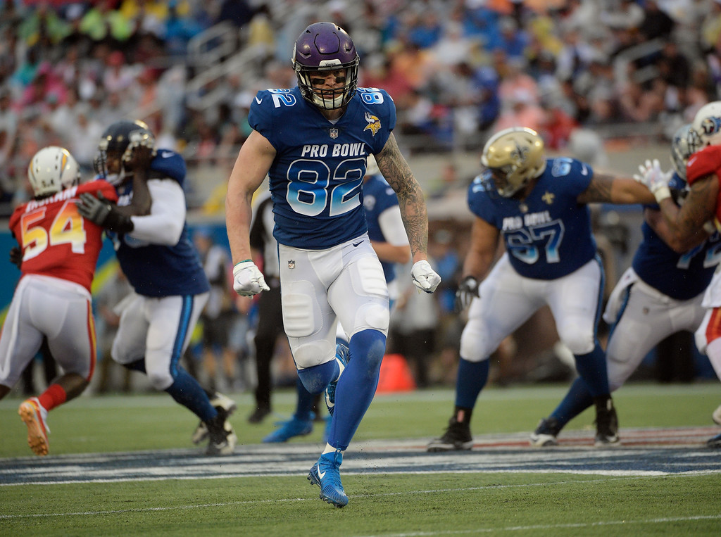 . NFC tight end Kyle Rudolph (82) of the Minnesota Vikings, runs, during the second half of the NFL Pro Bowl football game against the AFC, Sunday, Jan. 28, 2018, in Orlando, Fla. (AP Photo/Phelan M Ebenhack)