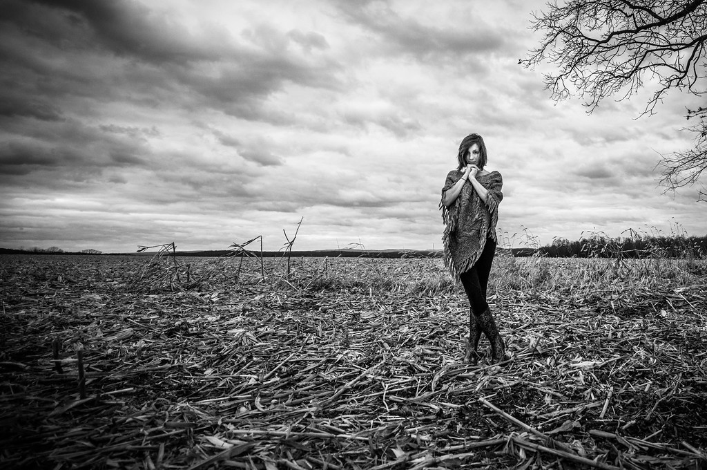 Tara; Smith; Tree; field; West; Virginia; photos; Gabe; DeWitt; November; 2014; Favorite things; Field; Girl in a field; People; Places; Seasons; Tara Smith; Tree; Winter; corn field; friends; ominous; photos by Gabe DeWitt; shy