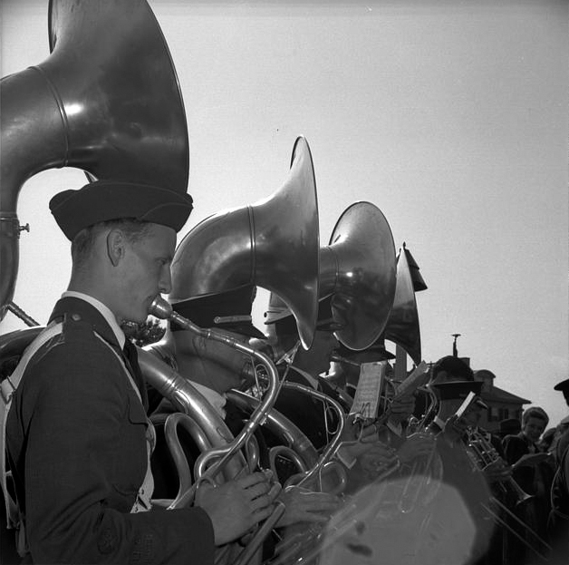 . Gloucester, Massachusetts. Memorial Day, 1943. American Legion band playing at the Memorial service. 	Gordon parks, Photographer.  Courtesy the Library of Congress