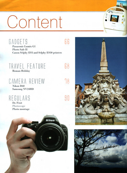 """Asian Photography  http://www.asianphotographyindia.com/  October 2008 Issue Travel Feature Article """"Roman Holiday"""" by Anu (Arundhathi) & pictures by Suchit Nanda.   Asian Photography is India's premier and oldest photography magazine.   You can read the full article with full size images at:   http://suchit.net/photo/rome_2008/index.htm"""