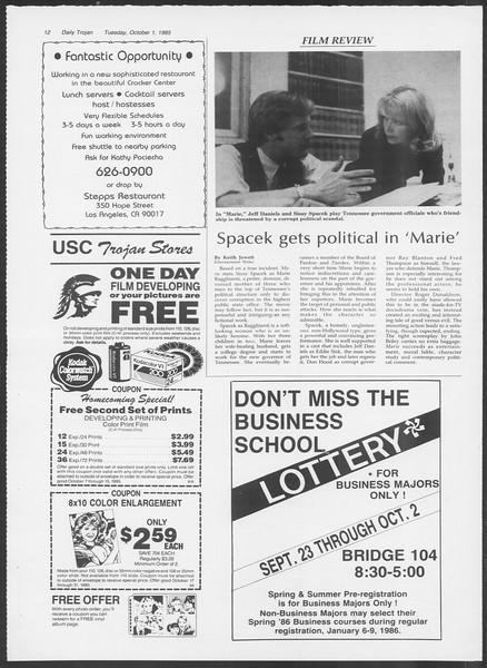 Daily Trojan, Vol. 100, No. 21, October 01, 1985