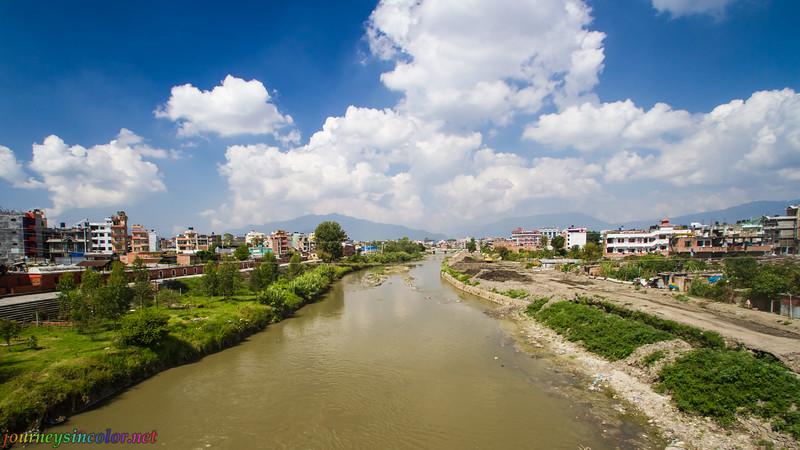 Bagmati River, from Sankhamul Bridge, in Kathmandu, Nepal