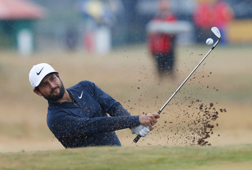 . Alex Levy of France plays out of the bunker on the 8th hole during the second round of the British Open Golf Championship in Carnoustie, Scotland, Friday July 20, 2018. (AP Photo/Alastair Grant)