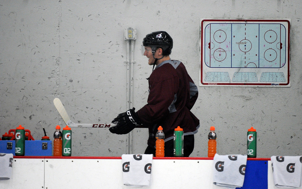 . Colorado Avalanche LW Gabriel Landeskog was the first player to enter the rink as the Avalanche return to the ice Sunday, January 13, 2013 at Family Sports Center to start the 2013 training camp.  John Leyba, The Denver Post