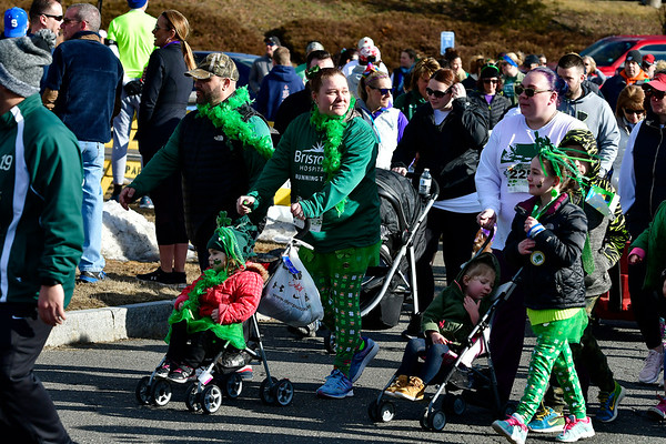 3/16/2019 MIke Orazzi | Staff The start of the 2 Mile Run and the 2 Mile Fitness Walk, during the 17th Annual Shamrock Run & Walk at Chippens Hill Middle School on Saturday in Bristol.