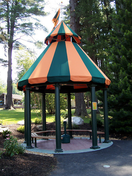 One of Canobie's five new smoking gazebos. The park is smoke free, except in these areas. This is the one near Over the Rainbow.