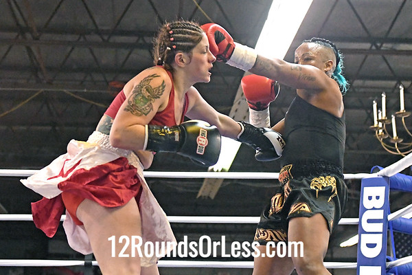 First Pro Bout=Bout 8 Crystal Byers, Black Trunks -vs- L aura Byrnes, Red Trunks 145Lbs Female Pro Kickboxing