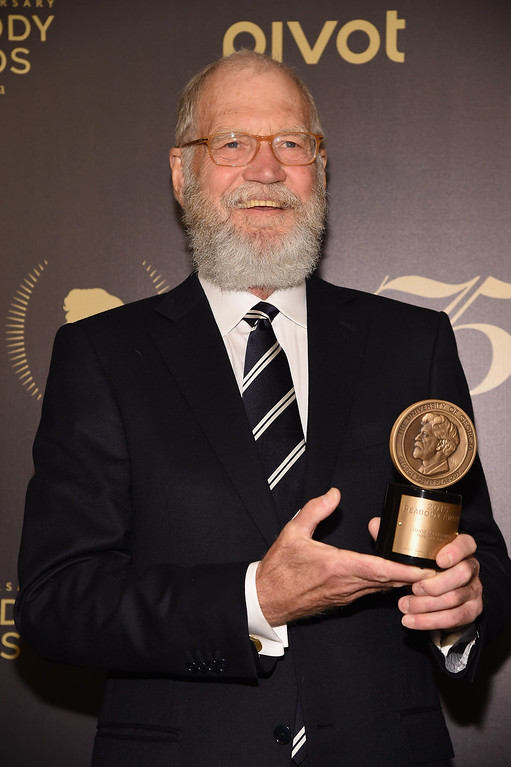 . David Letterman poses with award during The 75th Annual Peabody Awards Ceremony at Cipriani Wall Street on May 21, 2016 in New York City.  (Photo by Gary Gershoff/Getty Images for Peabody)
