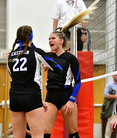 10/30/2019 Mike Orazzi | StaffrBristol Eastern's Zoe Lowe (7) during Wednesday night's volleyball match with Bristol Central.