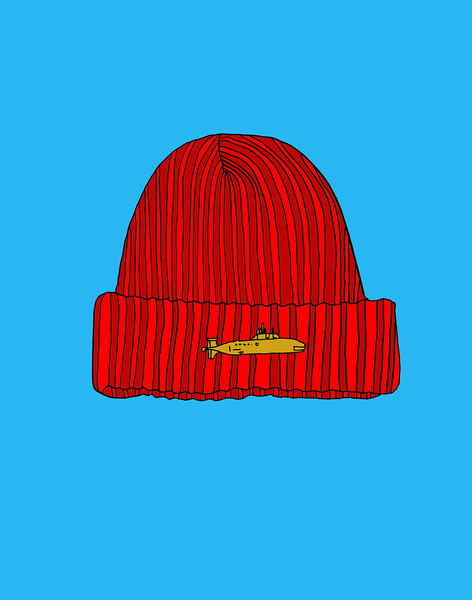 'Red Explorer's Cap' ink drawing + digital coloring Daniel Driensky © 2014
