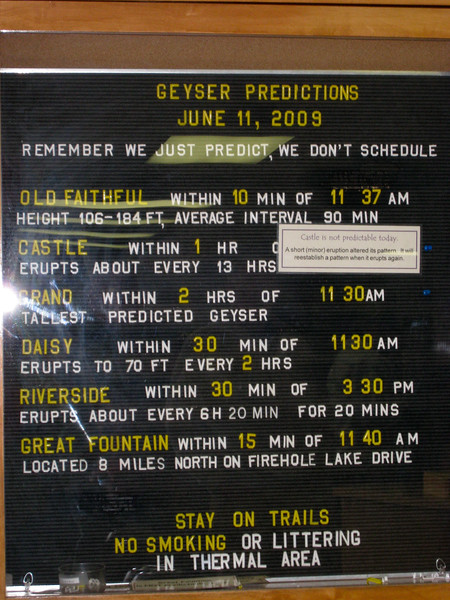 Geyser prediction board at the Old Faithful Visitor Center