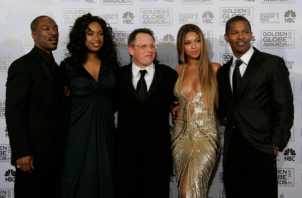 . The cast of Dreamgirls, from left, Eddie Murphy, Jennifer Hudson, Director Bill Condon, Beyonce Knowles and Jamie Foxx poses backstage at the 64th Annual Golden Globe Awards on Monday, Jan. 15, 2007, in Beverly Hills, Calif. (AP Photo/Kevork Djansezian)