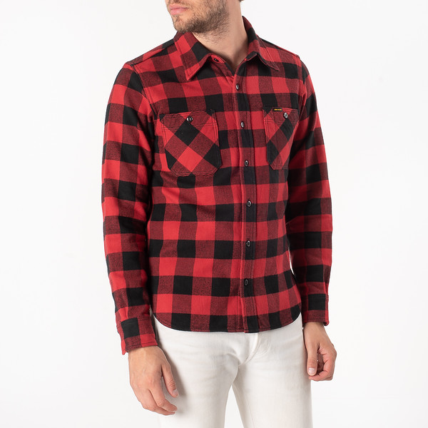 Ultra Heavy Flannel Buffalo Check Work Shirt - Red-Black-6913.jpg
