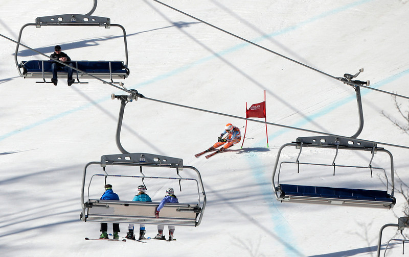 . Norway\'s Ragnhild Mowinckel competes during the women\'s super-G at the 2014 Winter Olympics, Saturday, Feb. 15, 2014, in Krasnaya Polyana, Russia. (AP Photo/Charlie Riedel)