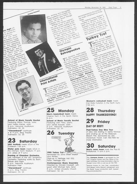 Daily Trojan, Vol. 100, No. 52, November 18, 1985