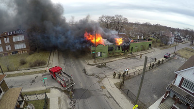 Aerial Views of McGraw and Cicotte Building Fire (Detroit, MI) 3/29/15