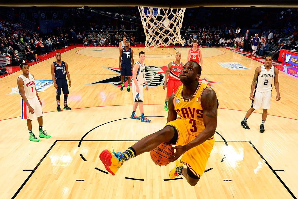 . HOUSTON, TX - FEBRUARY 15:  Dion Waiters #3 of the Cleveland Cavaliers goes up for a dunk as he throws the ball under his legs in the BBVA Rising Stars Challenge 2013 part of the 2013 NBA All-Star Weekend at the Toyota Center on February 15, 2013 in Houston, Texas.   (Photo by Bob Donnan/Pool/Getty Images)