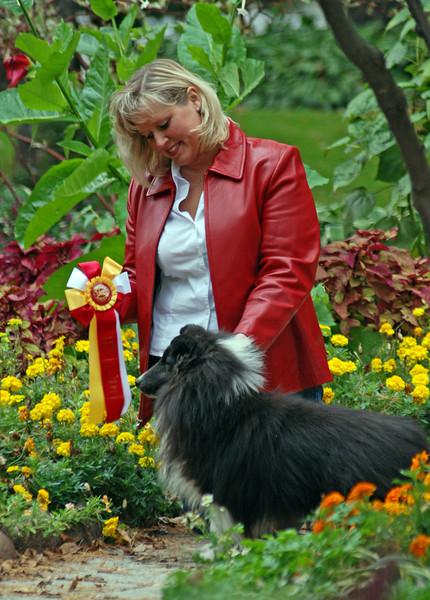 "Sara Leonard with her beautiful Shetland Sheep Dogs : ""Sunday"" ""Image"" and ""Coal"""