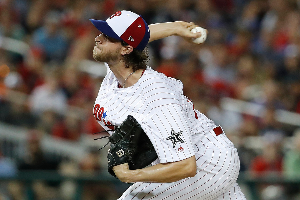 . Philadelphia Phillies pitcher Aaron Nola (27) works during the fifth inning at the Major League Baseball All-star Game, Tuesday, July 17, 2018 in Washington. (AP Photo/Alex Brandon)