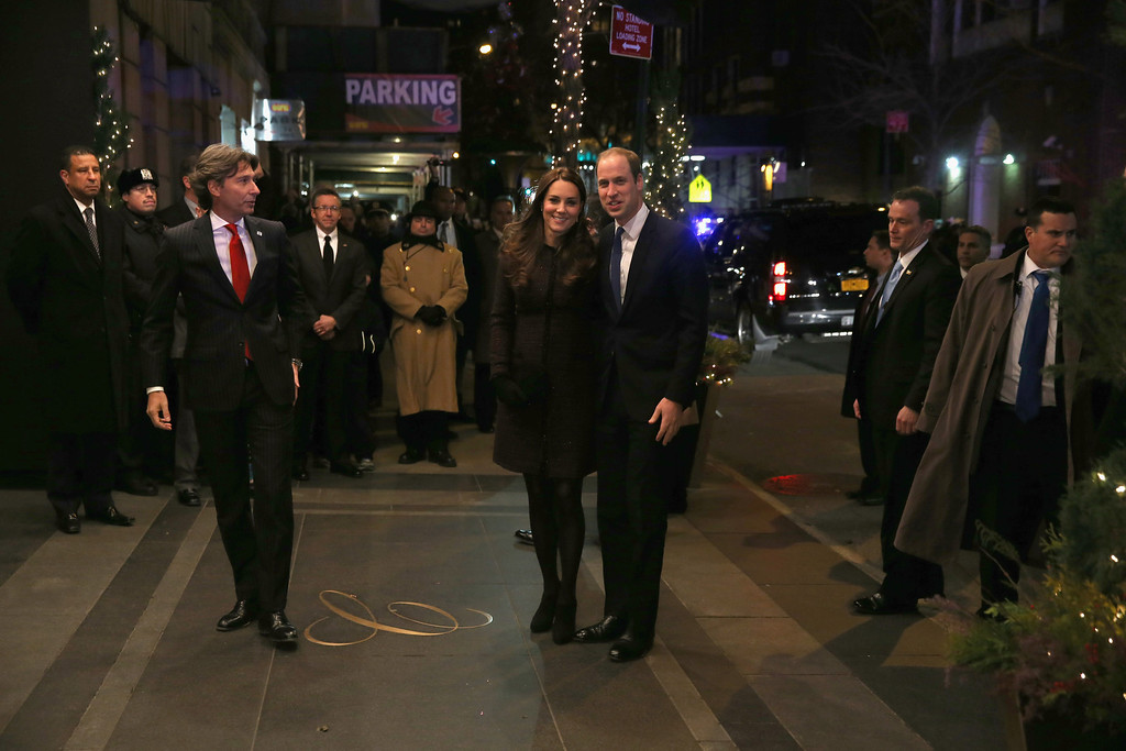 . Prince William, Duke of Cambridge and Catherine, Duchess of Cambridge (L) arrive at The Carlyle Hotel, where they will be staying during their official two-day visit to the United States, on December 7, 2014 in New York City.   (Photo by Neilson Barnard/Getty Images)