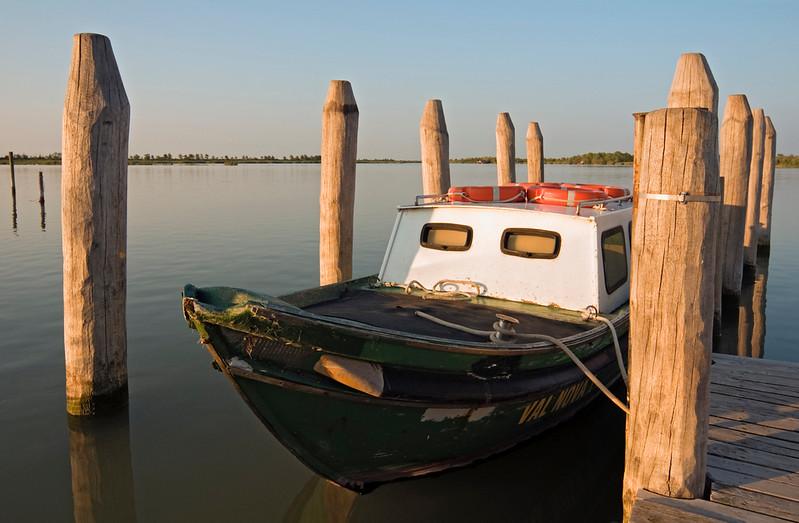 Boat in Caorle Lagoon, Veneto, Italy