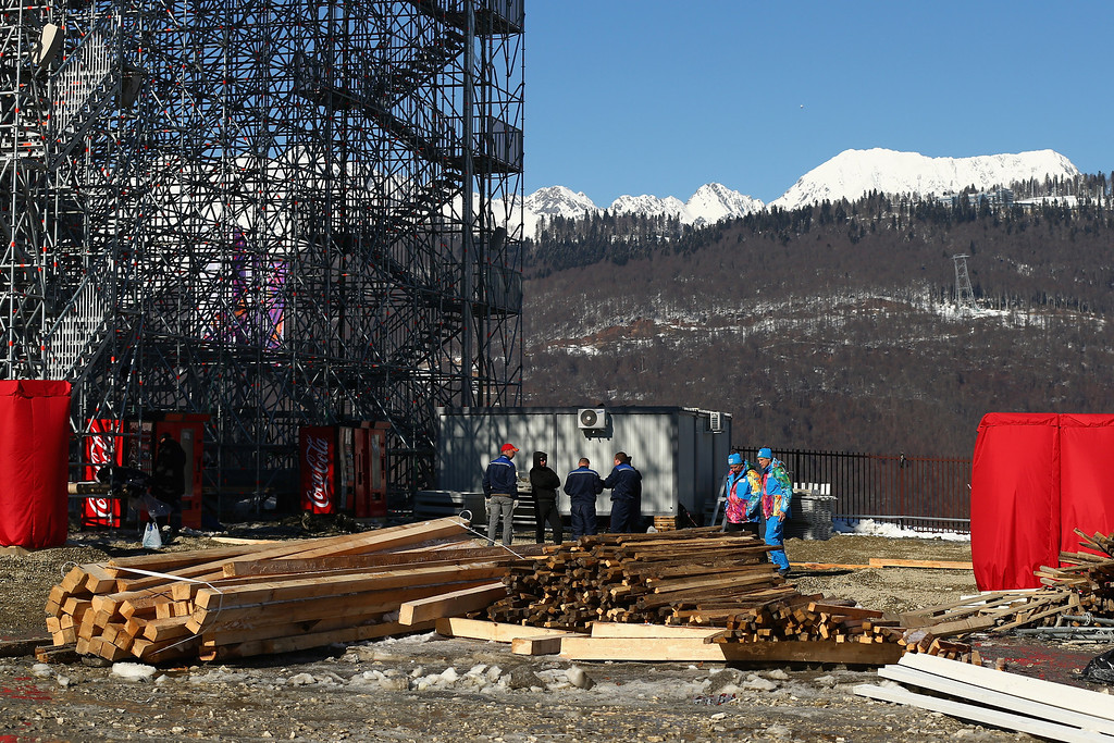 . Construction continues at the Extreme Park at Rosa Khutor Mountain ahead of the Sochi 2014 Winter Olympics on February 5, 2014 in Sochi, Russia  (Photo by Cameron Spencer/Getty Images)