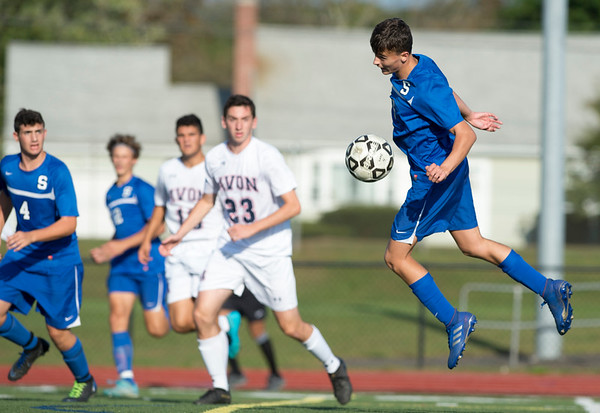 10/01/19 Wesley Bunnell   StaffrrSouthington boys soccer was defeated by Avon 3-2 on Tuesday afternoon at Southington High School. Andrew Kudia (6).