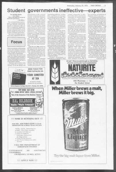 Daily Trojan, Vol. 64, No. 74, February 23, 1972
