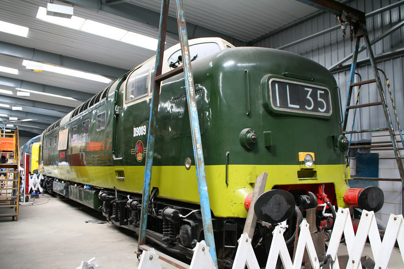 55009 in the restoration shed of the DPS at Barrow Hill.