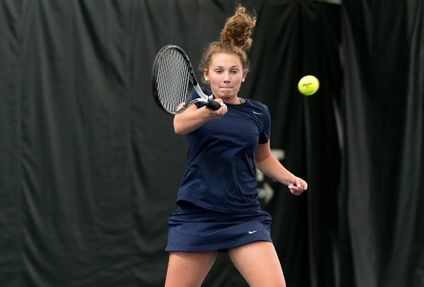 04/26/19 Wesley Bunnell | Staff Newington girls tennis vs Maloney on Friday afternoon at the Newington Tennis Center. Emmy Petronio in her #2 match.