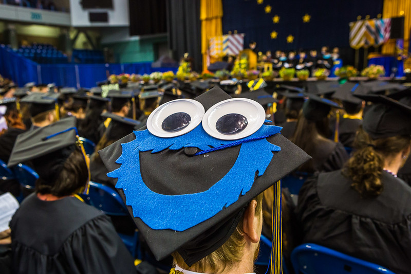 Max McKernan's cap is creatively decorated during the 2017 commencement ceremony.