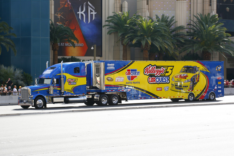 NASCAR was in town for a race the weekend of our departure.  The haulers had a quick parade down the strip.  Grabbed a batch of pics for my friends and family who enjoy NASCAR.