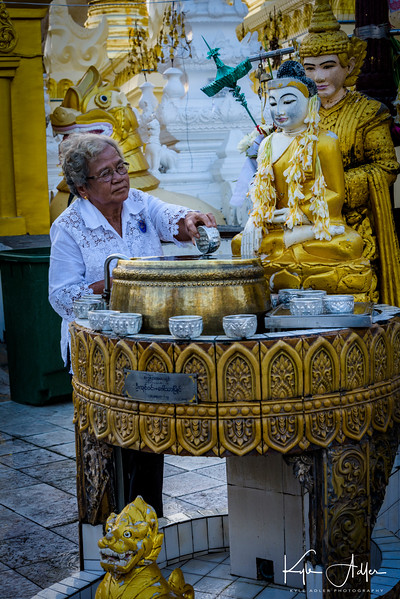 A ritual cleansing is performed by thousands of visitors daily at Shwedagon Pagoda.  People select a basin for this ceremony based on the day of the week on which they were born.