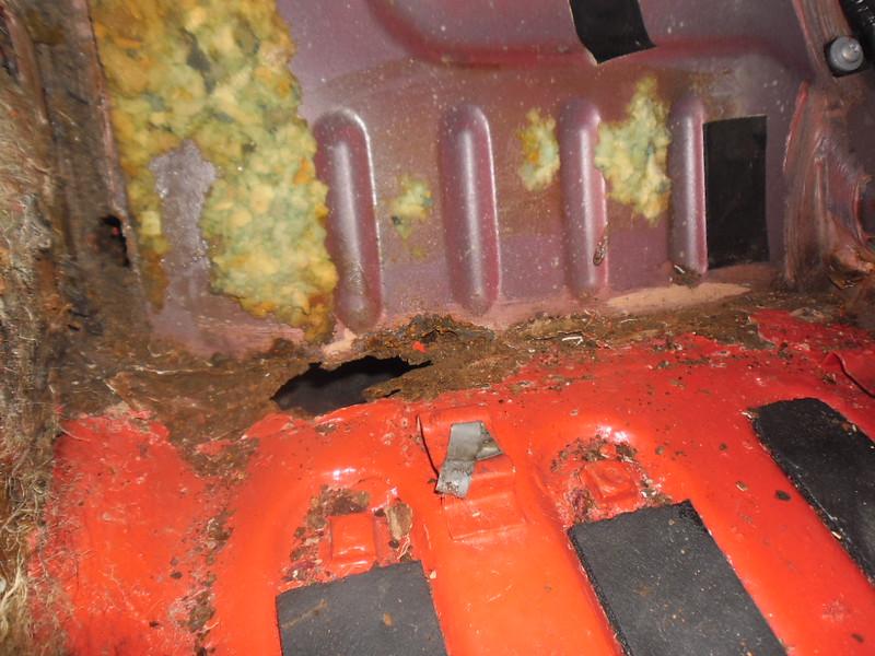 Front inside floorpan (toe board)