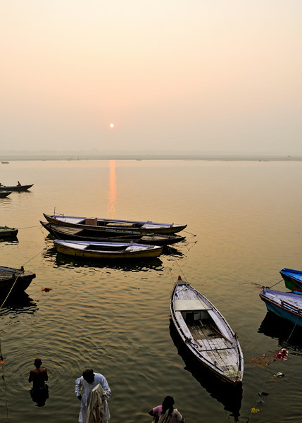 Sunrise on the Ganges River in Varanasi.