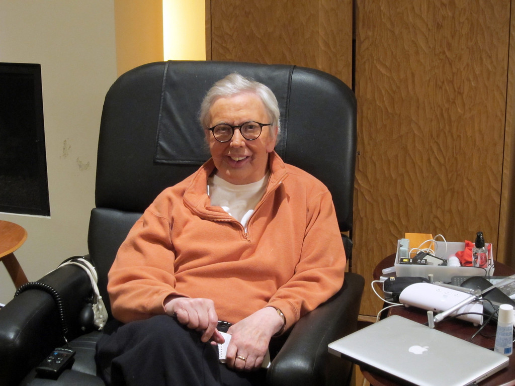 . This January, 2011, file photo provided by Roger Ebert shows the famous film critic wearing a silicone prosthesis over his lower face and neck. (AP Photo/Ebert Productions, David Rotter, file)