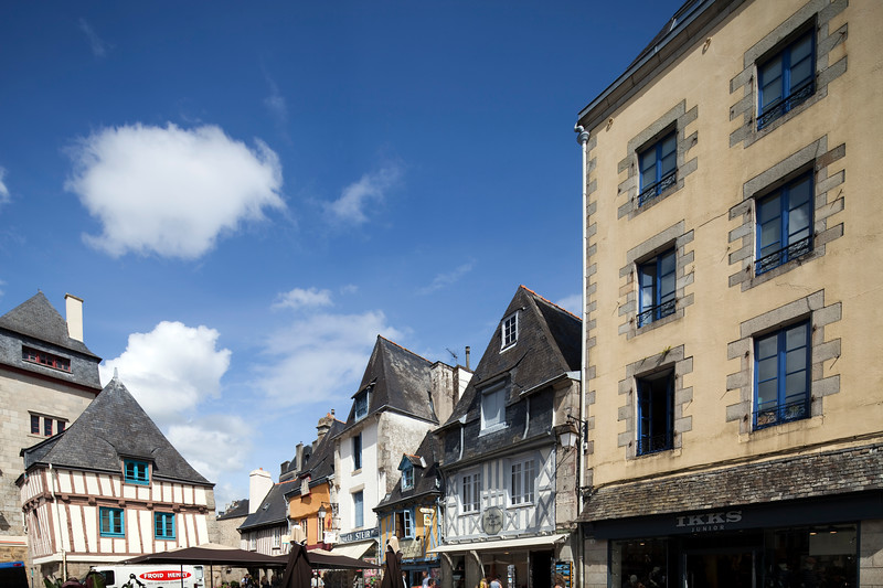 Traditional Breton architecture, town of Quimper, departament of Finistere, region of Brittany, France