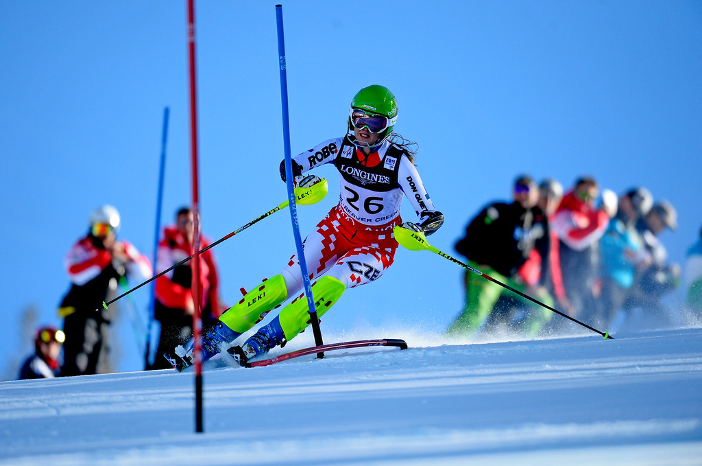 . BEAVER CREEK, CO - FEBRUARY 9: Klara Krizova, of Czech Republic, competes in the Women\'s slalom portion of the women\'s alpine combined race at the FIS Alpine World Ski Championships in Beaver Creek, CO. February 9, 2015. (Photo By Helen H. Richardson/The Denver Post)