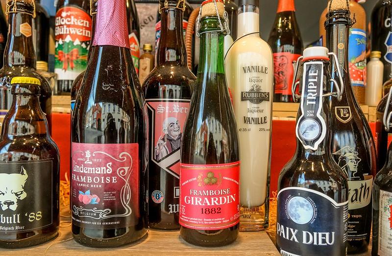 Beer bottle display.