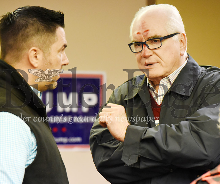Harold Aughton/Butler Eagle: Congressman Mike Kelly talks with candidate for the 17th District Sean Parnell during the Butler County Republican Committee and Women for Trump rally held Saturday, January 18, 2020.