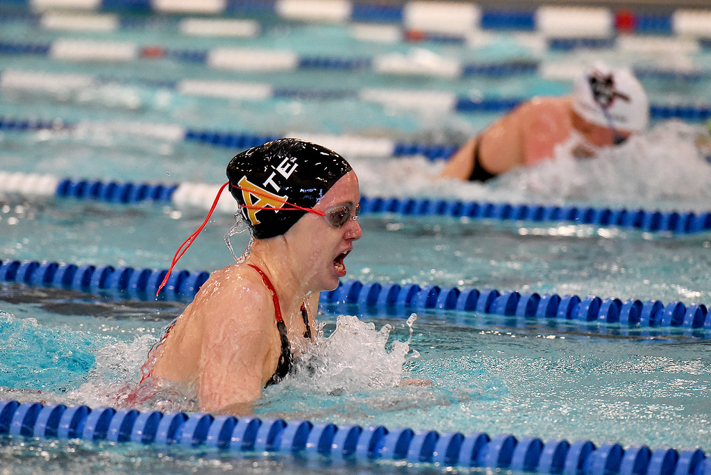. Arapahoe High School\'s Delaney Smith won the 200 Yard IM after Fossil Ridge\'s Bailey Kovac was disqualified at the girls 5A State Swim meet held at Edora Pool and Ice Center on Saturday. (Photo by Kira Horvath/ The Denver Post)